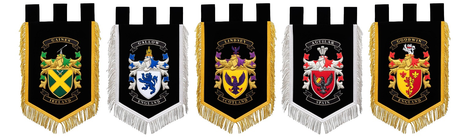 Selection of Coat of Arms Displayed with different symbols and colors