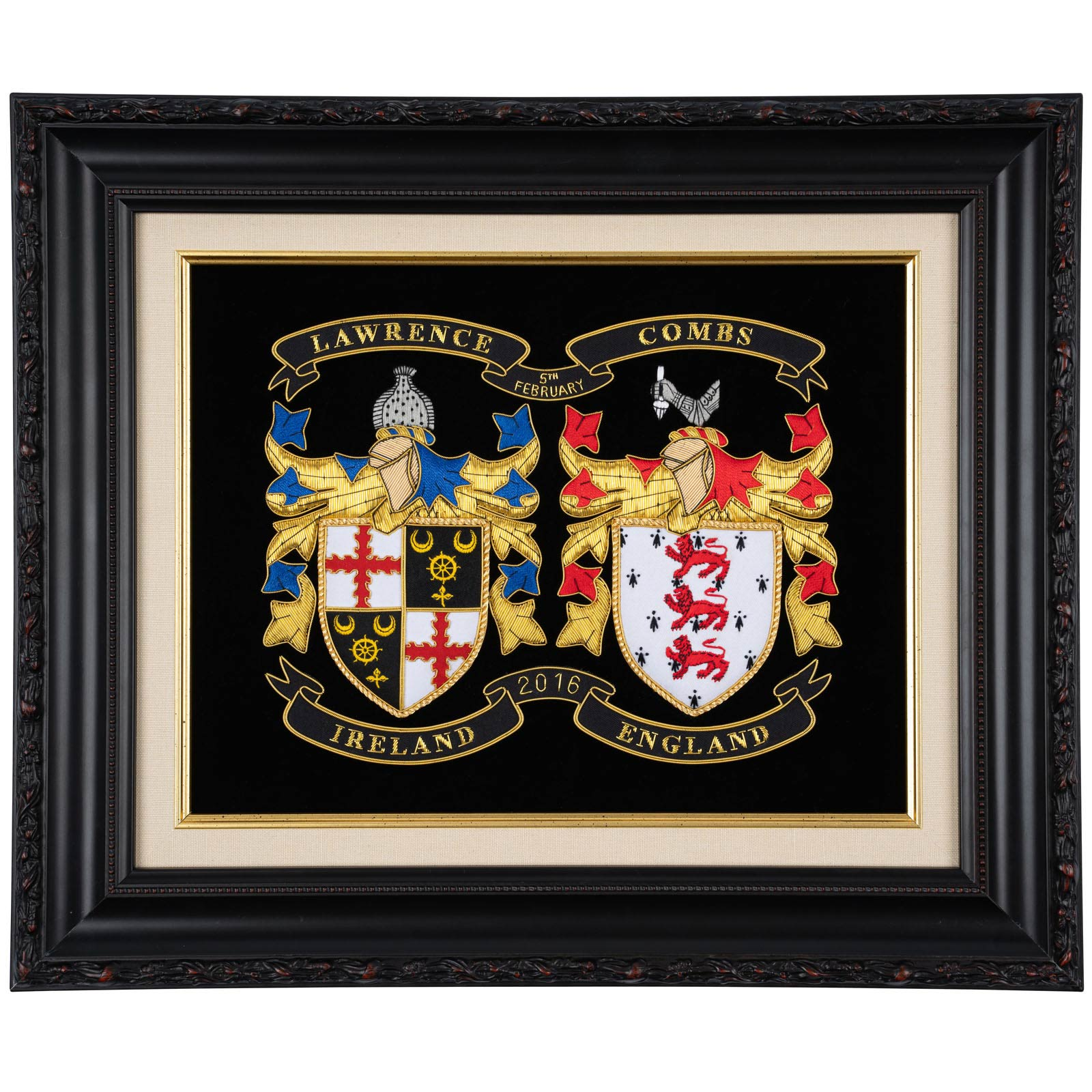 Embroidered Coat of Arms co-joining two families